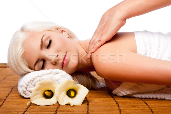 Relaxation pampering shoulder massage spa Stock photo © phakimata