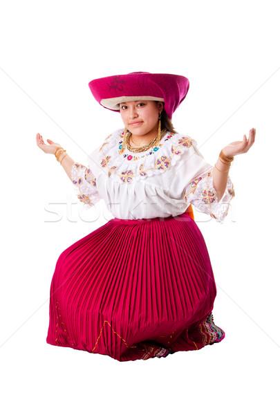 Gyönyörű indiai nő boldog Ecuador Peru Stock fotó © phakimata