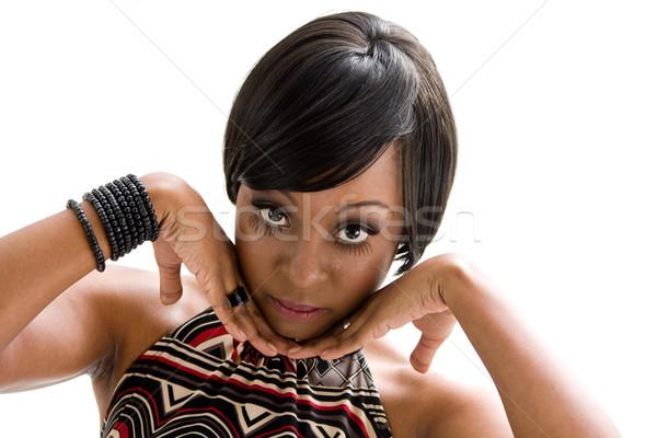 70 Afryki twarz kobiety piękna kobieta siedemdziesiątych Zdjęcia stock © phakimata