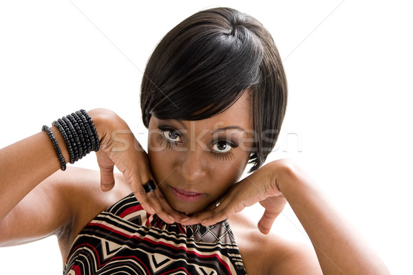 70s afrikaanse vrouw gezicht mooie vrouw zeventig Stockfoto © phakimata