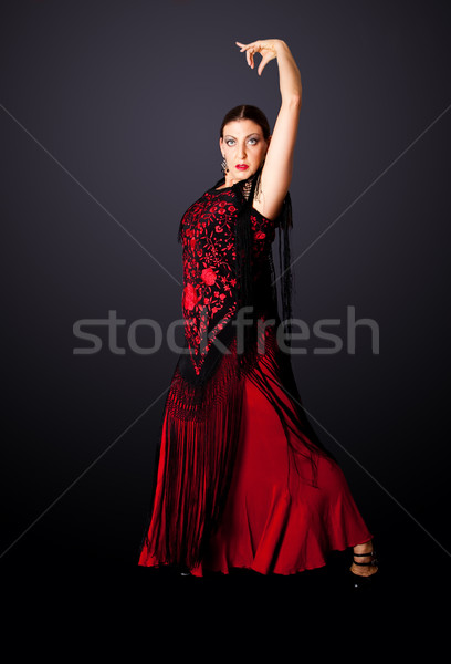 İspanyolca flamenko dansçı güzel kadın tipik Stok fotoğraf © phakimata