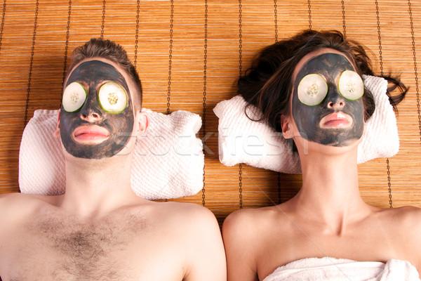 Couples retreat facial mask spa Stock photo © phakimata