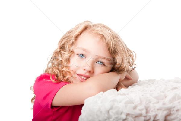Cute happy girl daydreaming Stock photo © phakimata