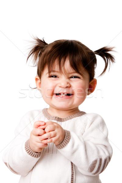 Feliz riendo bebé nina hermosa Foto stock © phakimata