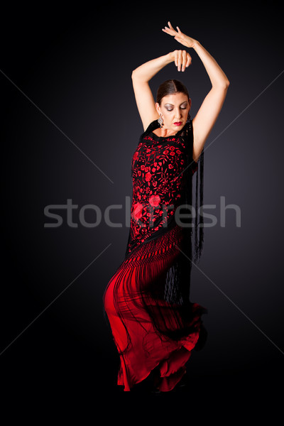 Hiszpanski tancerz piękna kobiet flamenco typowy Zdjęcia stock © phakimata