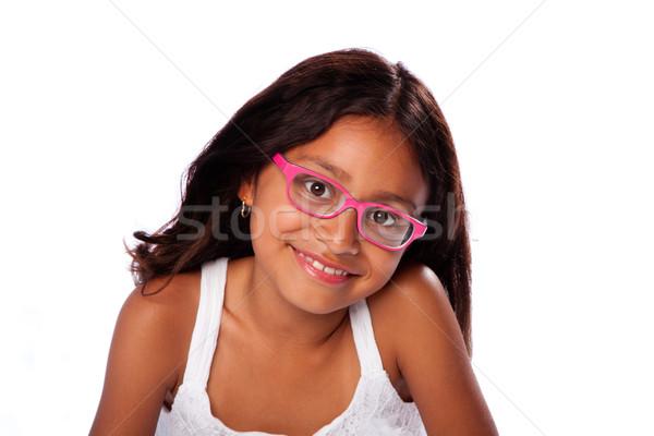 Heureux souriant fille verres cute hispanique Photo stock © phakimata