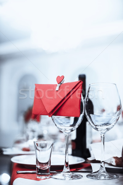 wine glasses with envelope and heart Stock photo © Phantom1311