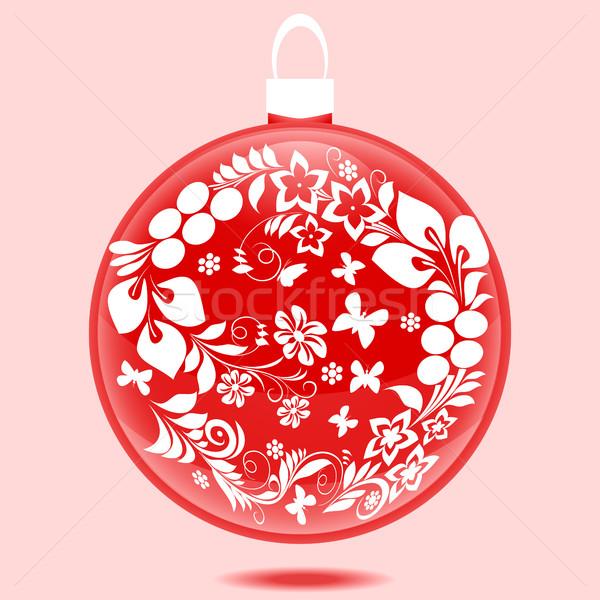 Karácsony labda dísz gyönyörű piros fehér Stock fotó © Phantom1311