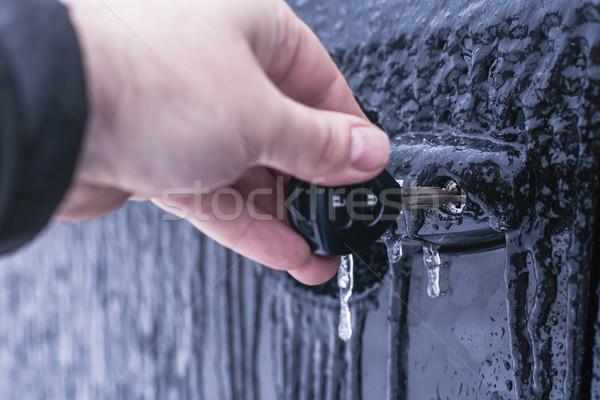 Kéz kulcs ajtó mechanizmus sekély jég Stock fotó © Phantom1311