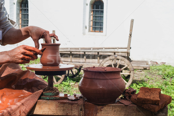 Kéz cserépedények gyártás kezek terv dolgozik Stock fotó © Phantom1311