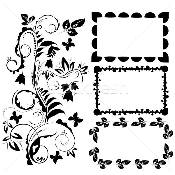 декоративный дизайна Элементы кадры белый дерево Сток-фото © Phantom1311