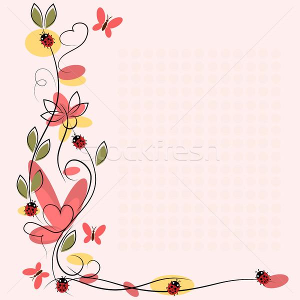 Vektor rajz virágok rovarok szeretet természet Stock fotó © Phantom1311