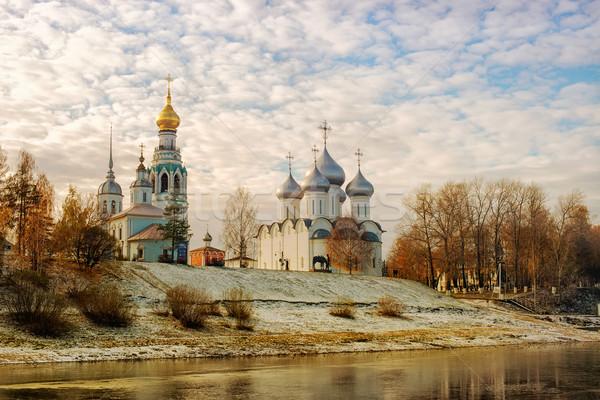 Oroszország templom város napos idő felhők fű Stock fotó © Phantom1311
