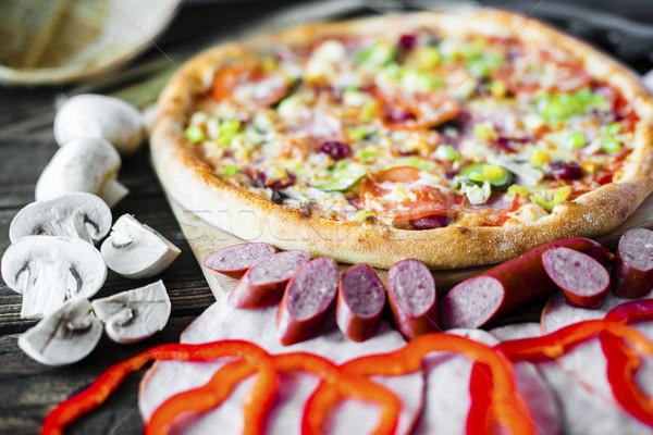 Pizza onderdelen ingrediënten laag voedsel restaurant Stockfoto © Phantom1311