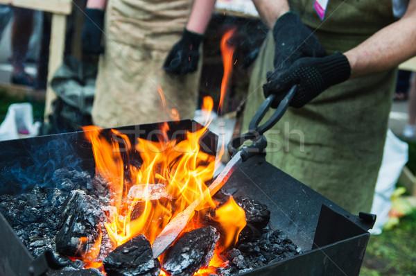 отопления металл стороны огня мужчин работник Сток-фото © Phantom1311