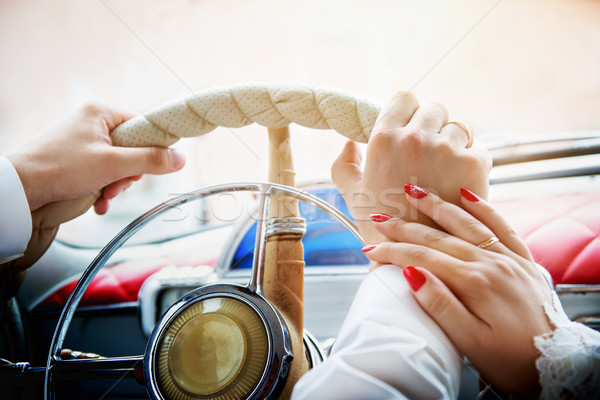 hands on the wheel at a shallow depth of field Stock photo © Phantom1311