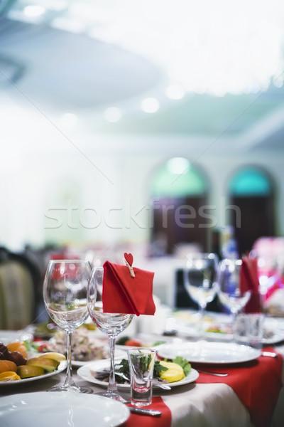 Borospoharak boríték szív szemüveg sekély asztal Stock fotó © Phantom1311