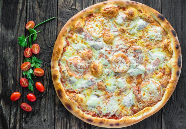 Pizza alkotóelemek hozzávalók alacsony étel étterem Stock fotó © Phantom1311
