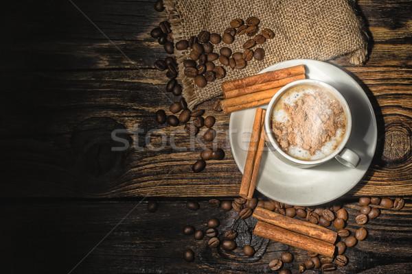 Csésze kávé hozzávalók fából készült fahéj gabona Stock fotó © Phantom1311