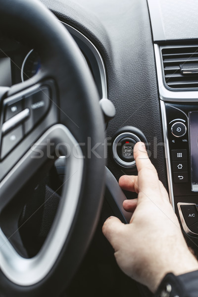 Engine start button and finger with shallow depth of field Stock photo © Phantom1311