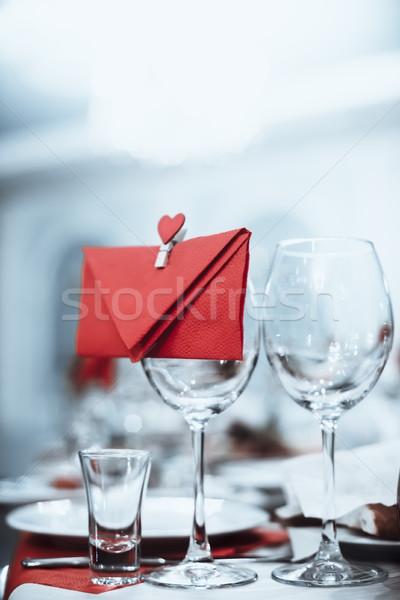 Borospoharak boríték szív áll asztal kék Stock fotó © Phantom1311