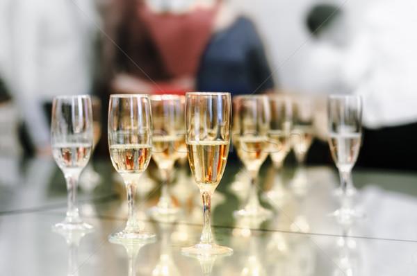очки шампанского таблице мелкий сердце группа Сток-фото © Phantom1311