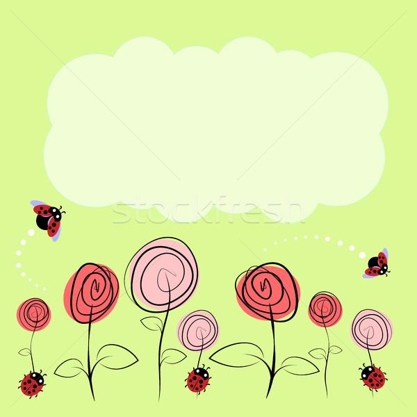 ストックフォト: ベクトル · 図面 · 花 · 昆虫 · 愛 · 背景