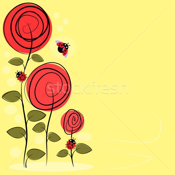 Vektor rajz virágok rovarok szeretet háttér Stock fotó © Phantom1311