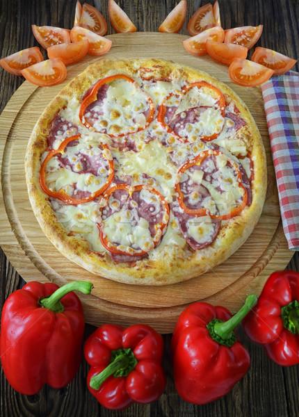 Pizza componentes mentir lado conselho comida Foto stock © Phantom1311