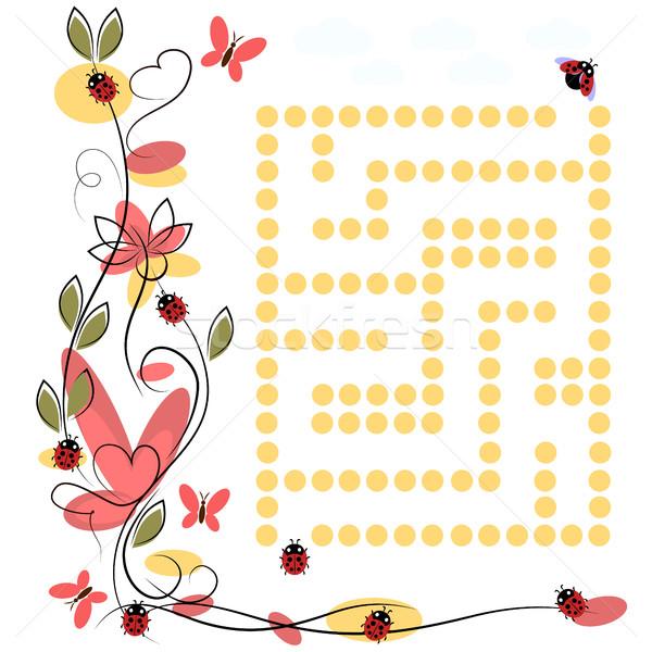 лабиринт Ladybug белый вектора рисунок трава Сток-фото © Phantom1311