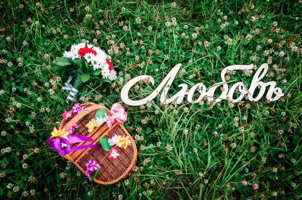 свадьба зеленая трава съемки цветы любви пару Сток-фото © Phantom1311