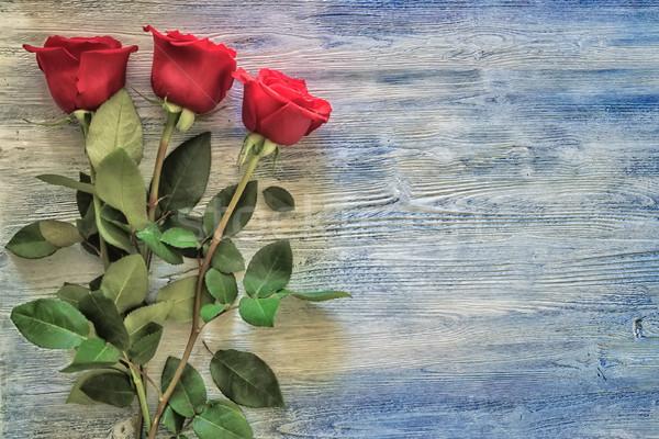 Rózsák fa deszka vörös rózsák festett fából készült kék Stock fotó © Phantom1311