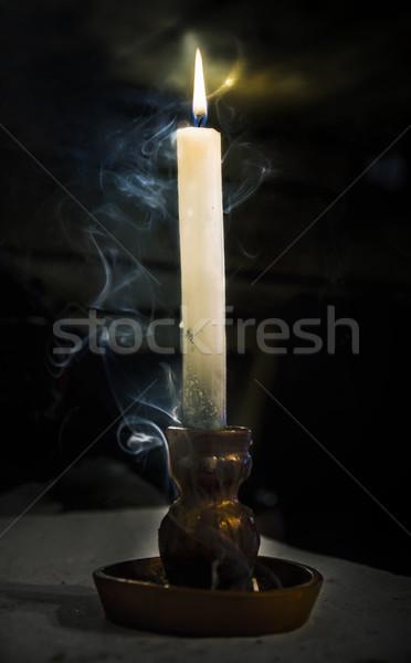 Brandend kaars klei kandelaar rook ruimte Stockfoto © Phantom1311