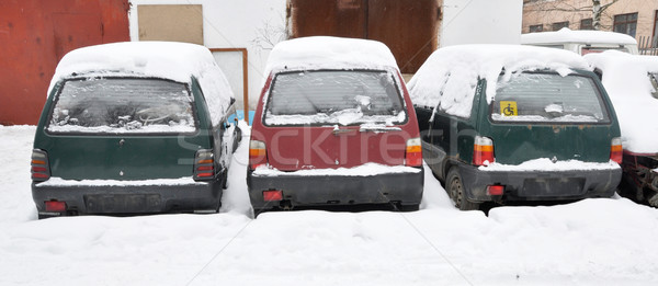 Stock photo: old cars covered with snow