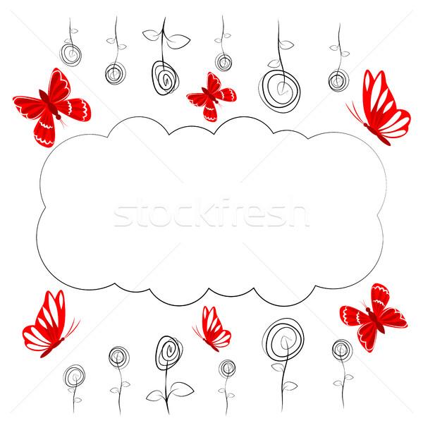Vektor rajz virágok rovarok pillangó levél Stock fotó © Phantom1311