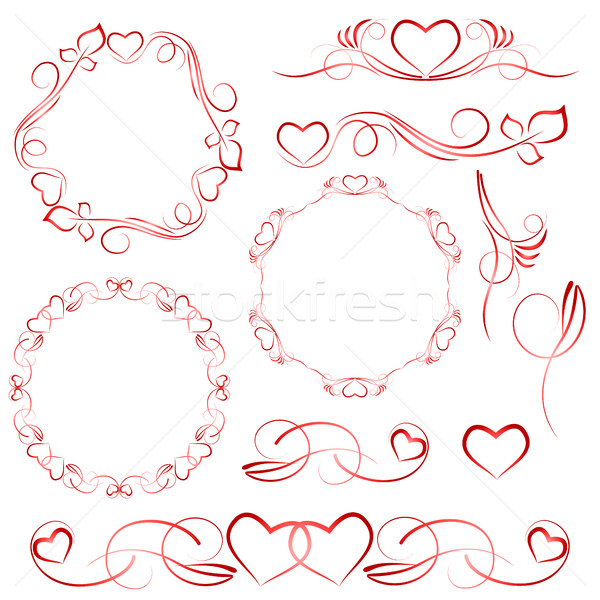 Stock photo: Elements for design with heart patterns