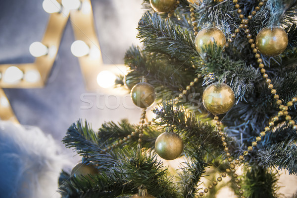 Decorations on the Christmas tree branches with shallow depth of field Stock photo © Phantom1311