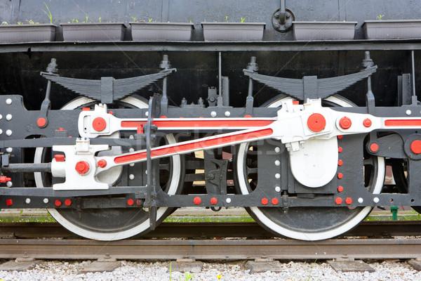 Detail stoomlocomotief wiel buitenshuis vervoer en Stockfoto © phbcz