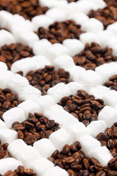 Сток-фото: натюрморт · кофе · сахар · кофе · квадратный · коричневый