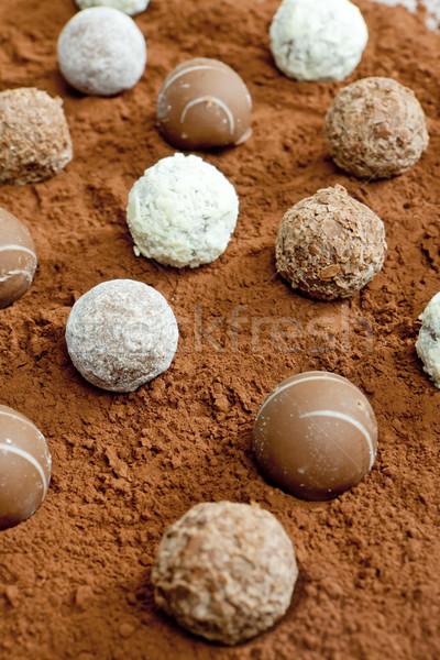 pralines in cocoa Stock photo © phbcz