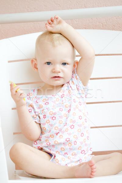 Posiedzenia jedzenie jabłko dzieci dziecko Zdjęcia stock © phbcz