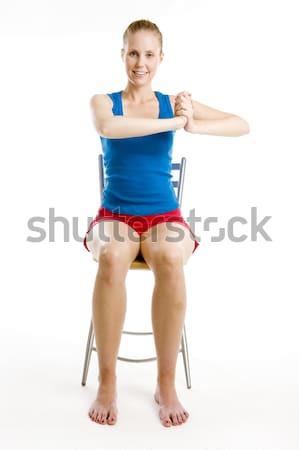 женщину сидят Председатель фитнес спортивных Сток-фото © phbcz