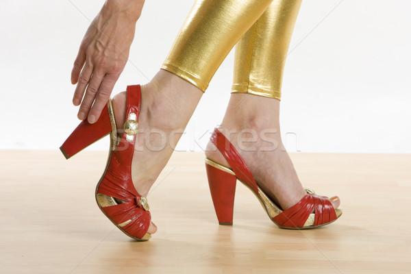 Rood zomerschoenen meisje handen hand vrouwen Stockfoto © phbcz