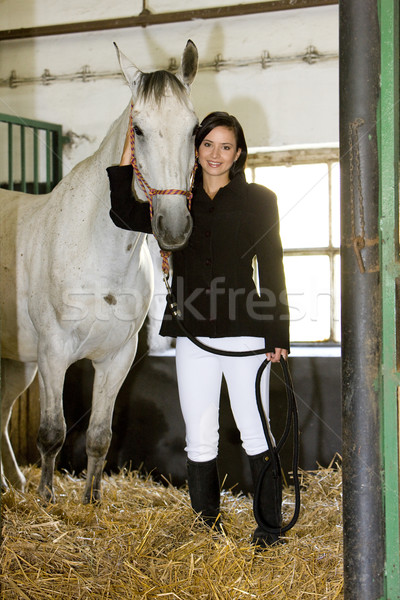equestrian with horse in stable Stock photo © phbcz