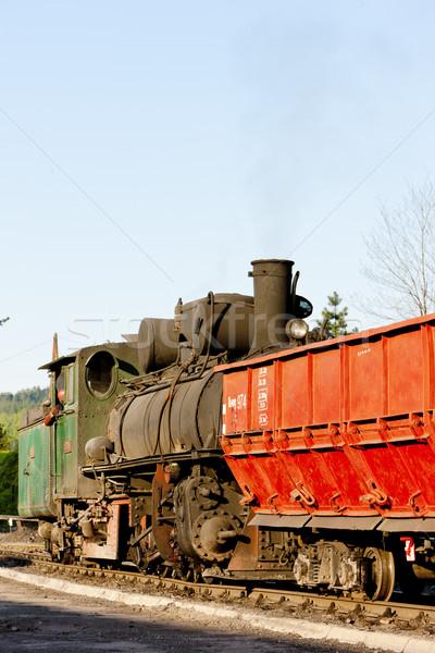 Stoomlocomotief levering punt buitenshuis vervoer en Stockfoto © phbcz