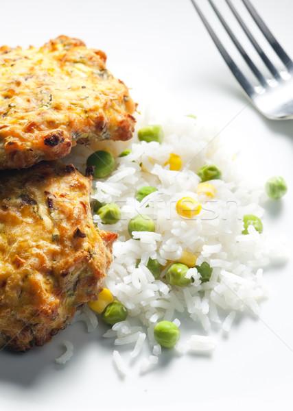 Foto stock: Salmão · legumes · arroz · comida · garfo