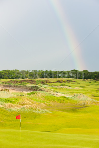 Regenboog golfbaan Schotland hemel golf landschap Stockfoto © phbcz