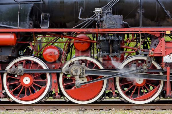 Stoom detail Nederland zwarte wiel vervoer Stockfoto © phbcz