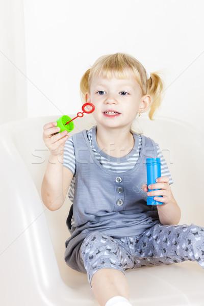 девочку играет пузырьки девушки моде ребенка Сток-фото © phbcz