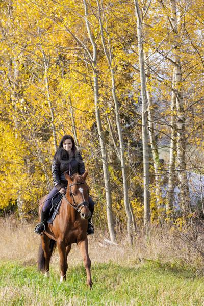 верхом природы женщины лошади Сток-фото © phbcz